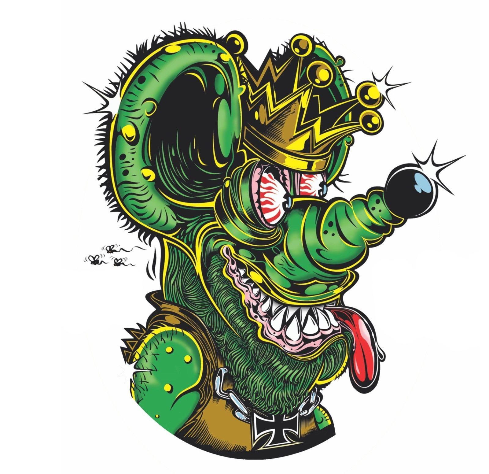 Rat Fink Head 10pcs Big Daddy Ed Roth Vinyl Decal Hot Rods Skateboard Stickers