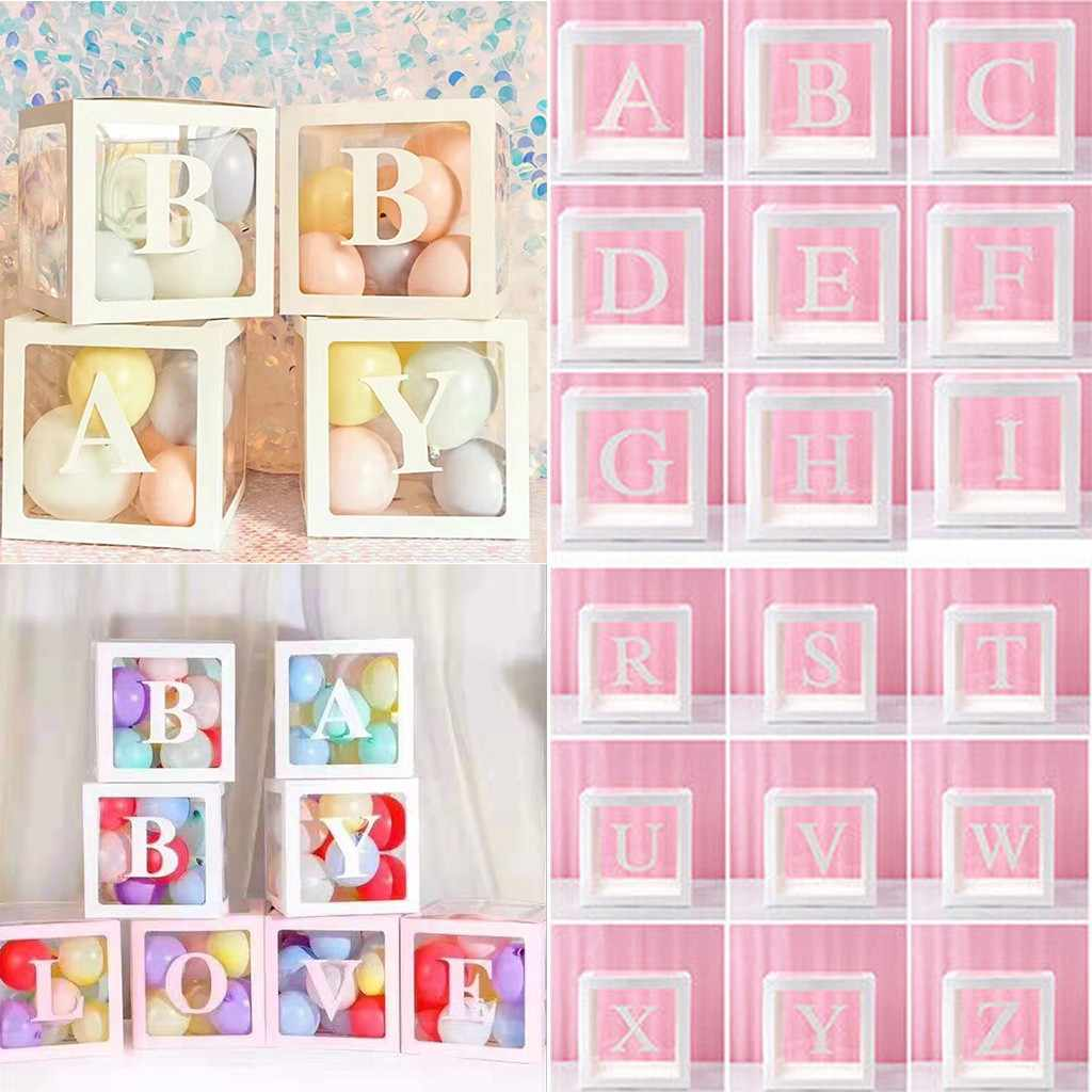 Letter A- Z  Transparent Gift Boxes Kid Birthday Baby Shower Party Decoration