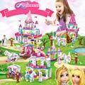 Строительные блоки принцессы Замок 4 комплекта игрушки для девочки подарок Маленькая сосулька творческие кирпичи