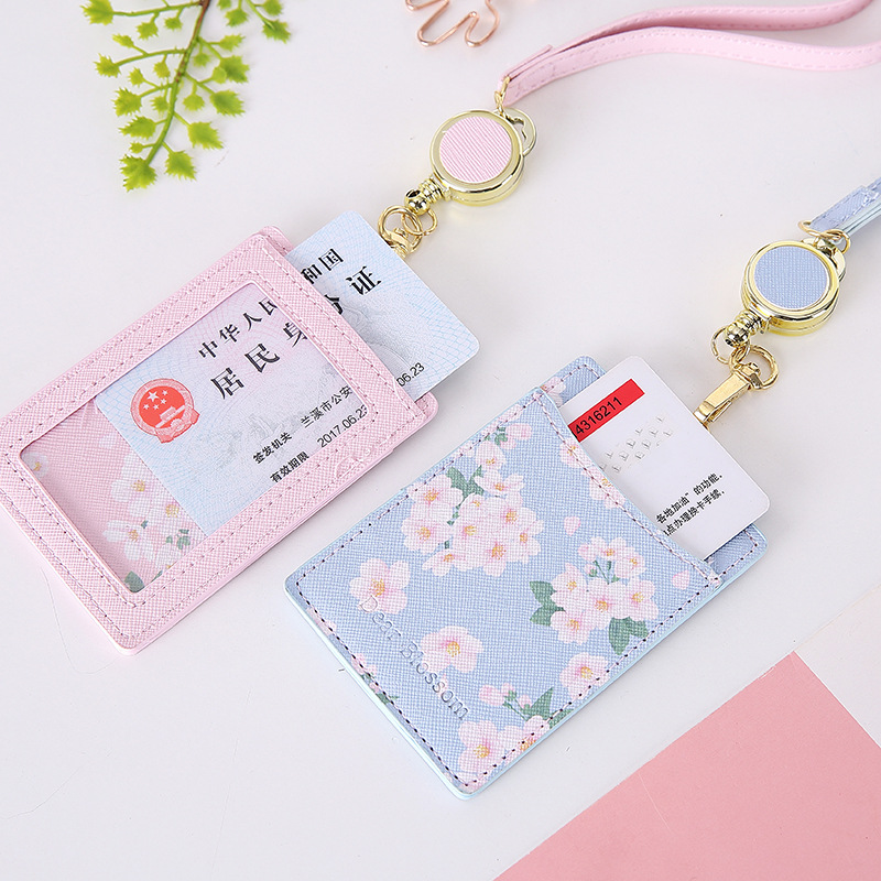 Newest Baeutiful Flowers 2 Bits Shaped Named Card Holder Identity Badge Reel With Lanyard PU Neck Strap Card Bus ID IC Holders