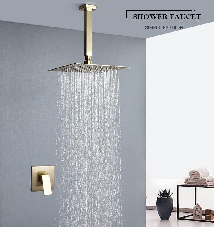"H9f5ace2d4a2542efa0bf90f8650c4530Y Brushed Gold Rain Shower Head Bath Faucet Set 8/10/12"" Ceiling Mounted Bathroom Shower Heads Single Function Shower Trim Kit"