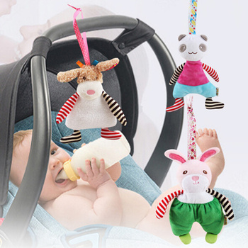 New Arrival Multi-Functional Musical Toy Rabbit Panda Baby Car Hanging Bed Seat Hanger Plush Pendant Newborn Toys Gift