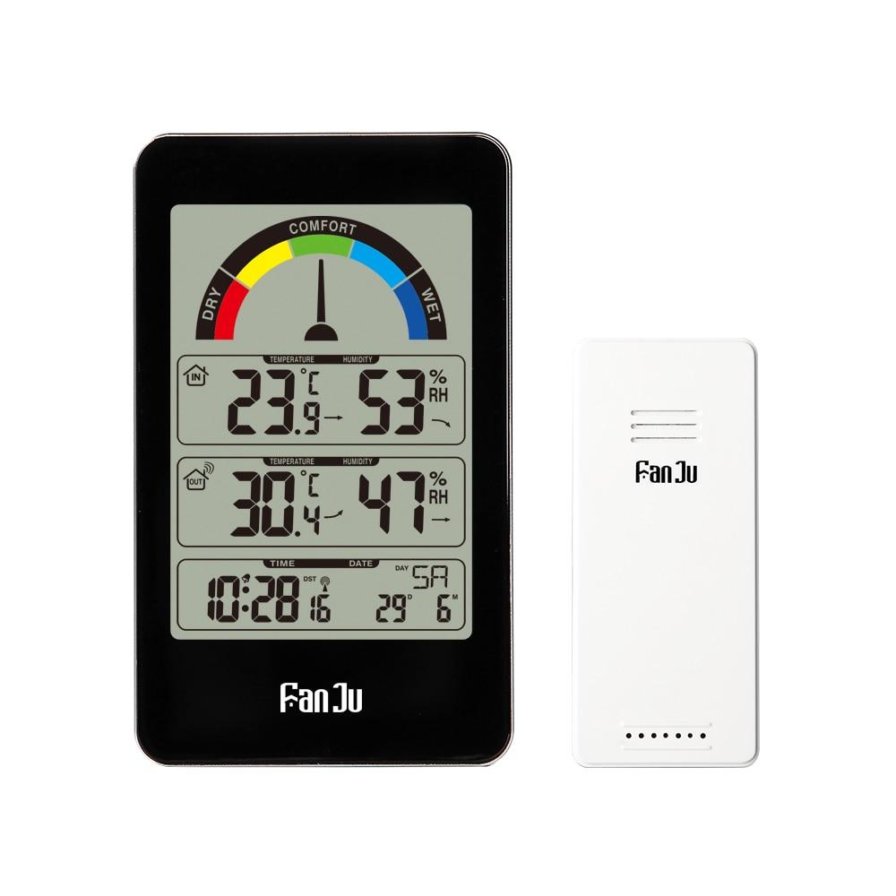 FanJu 3356 Electronic Digital Alarm Clock  Wireless Temperature Humidity Meter Pointer Comfort Indication Indoor Outdoor