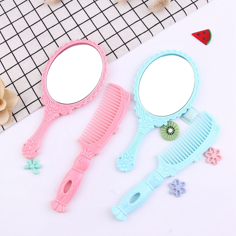 2pcs/set Creative Children Mirror+Comb Set Hair Care Accessories Baby Girls Portable Comb With Handle Makeup Mirror Comb Set