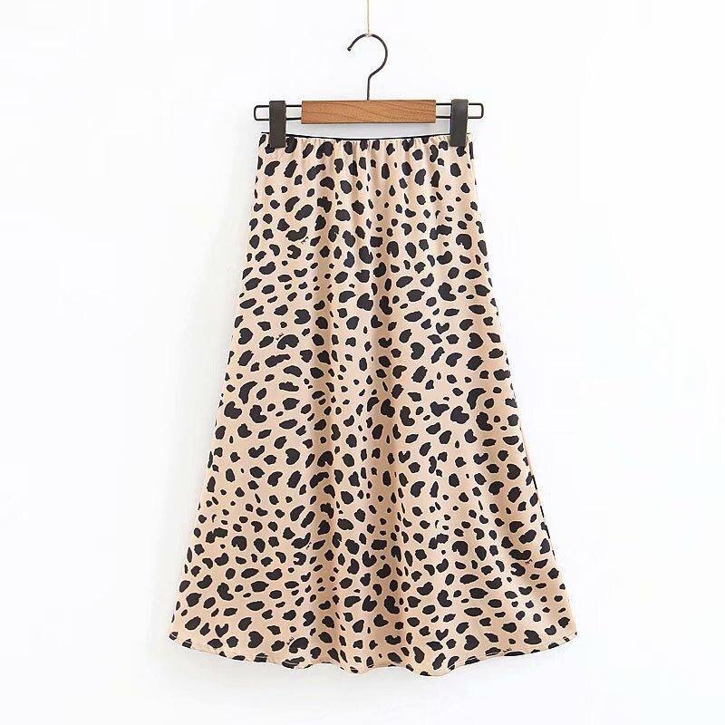 High Waist Skirts Womens Vintage Leopard Skirt Ladies Stain Midi A Line Cheetah Print Skirt Streetwear Animal Print Skirts 2020