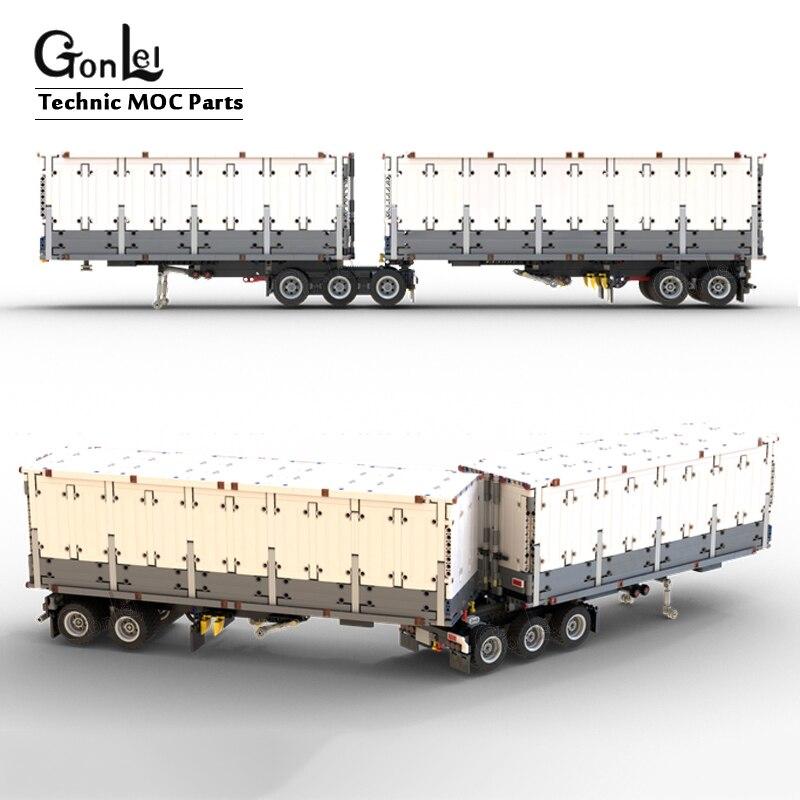 Technic Ecke MARK 20ft Full RC Container Trainer MOC 27224 Mark Anthem Tri-Drive MOD 26686 Trailer Dry Van (Box) Bricks DIY Toys