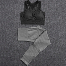2 Piece Yoga Set Women Seamless Suit Sports Bra Top Leggings Sport Set Gym Clothes Fitness Tracksuit Workout Femme Yoga Sets women yoga set tai chi kungfu meditation uniforms linen chinese traditionl loose wide yoga pant yoga shirt casual outfit set