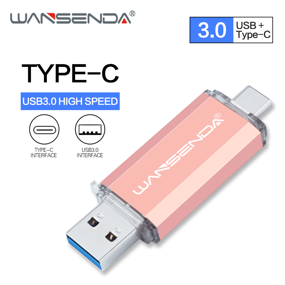 New WANSENDA Type C USB Flash Drive OTG Pen Drive 16GB 32GB 64GB 128GB 256GB Pendrive 2 In 1 Type-C & Usb 3.0 Flash Memory Stick