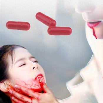 Halloween Fake Blood Pills Red Capsules Cosplay Party Horror Funny Halloween Props Safety Halloween Blood Pill 3 Capsules / Box image