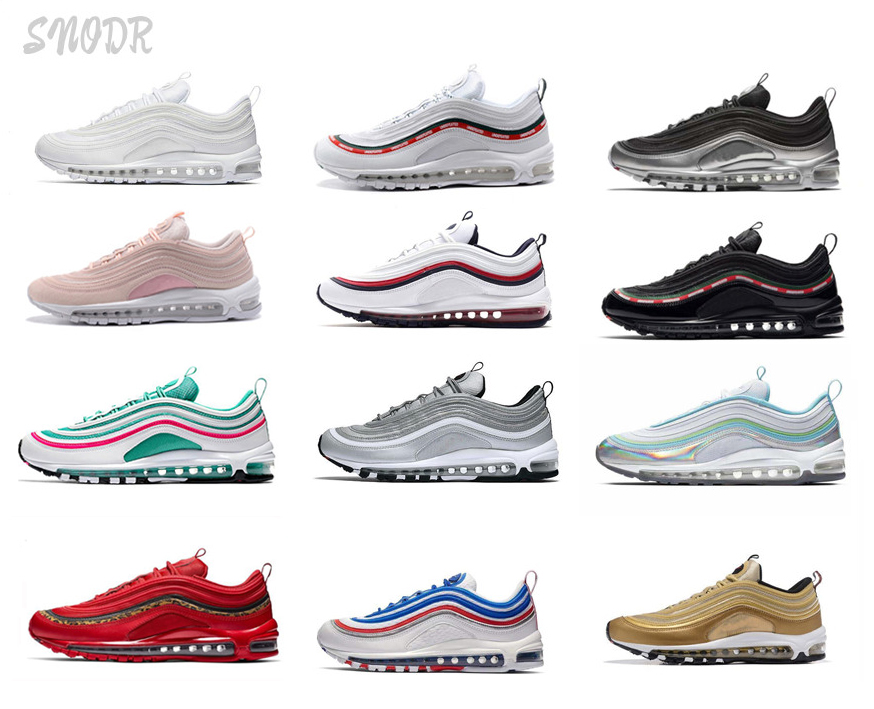 97 Black Bullet OG Undefeated Silver Gold Bred Red Olive Sunburst Leopard 97s Women Cushion Sport Sneakers Mens Running Shoes