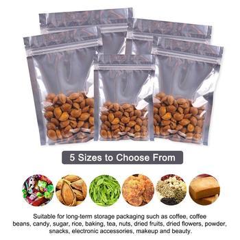 100 pces claro saco da folha de alumínio auto selo zíper ziplock embalagem saco de alimentos varejo resealable cozimento embalagem saco bolsa