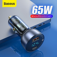 Baseus 65W PD Car Charger QC 4.0 QC 3.0 LED Display Type C Fast Charger Quick Charger For iPhone Xiaomi USB Phone Charger In Car