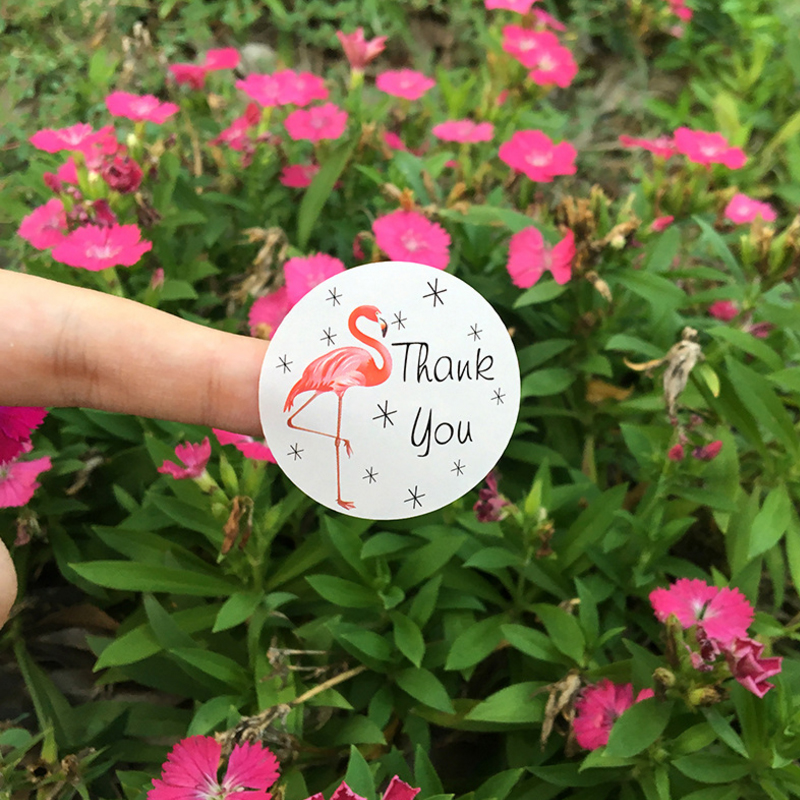 120pcs/lot Cute Flamingo Round Thank You Series Seal Sticker DIY Note Gift Package Labels For Baking Product