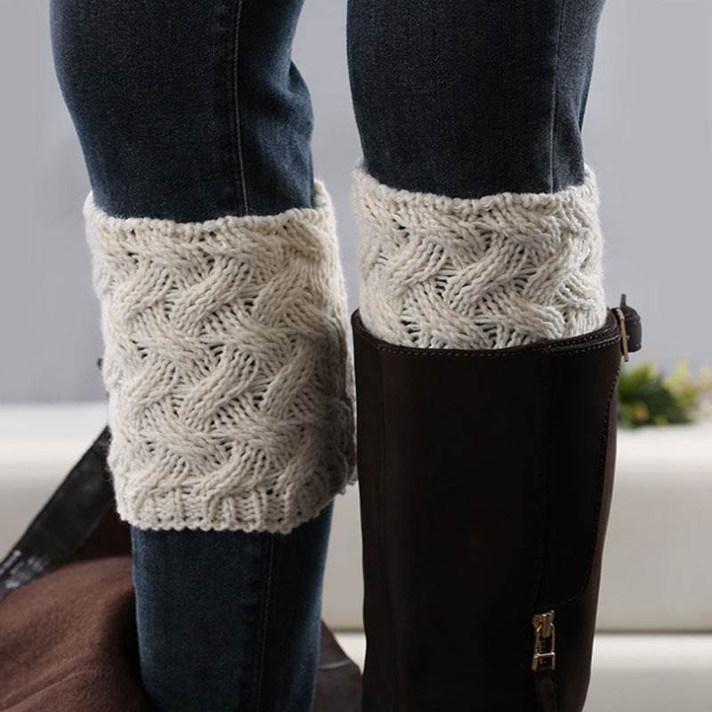 1 Pair Women Boot Cuffs Winter Warm Knitted Boots Socks Ladies New Short Warmers Knee Sleeve Rodilleras De Dama