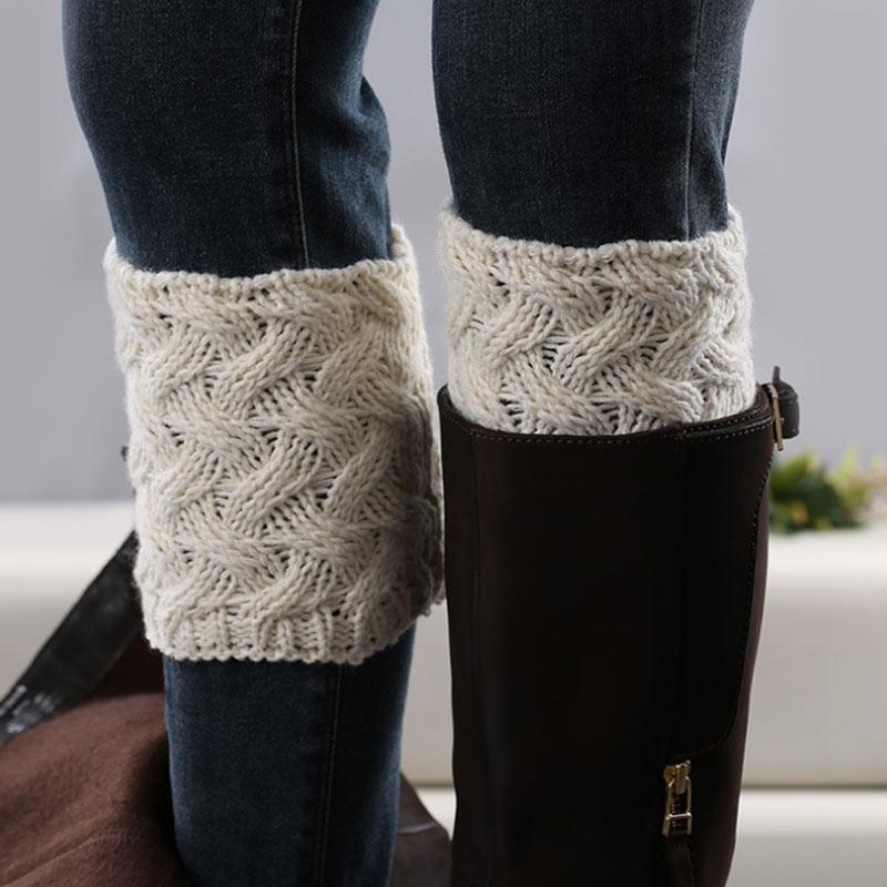 1 Pair Women Boot Cuffs Winter Warm Knitted Boots Socks Ladies New Short Warmers Knee Sleeve Rodilleras De Dama