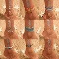 Набор винтажных браслетов из ракушек и лодыжек для женщин, богемные браслеты на ногу из веревки и цепочек с блестками, летние пляжные брасле...