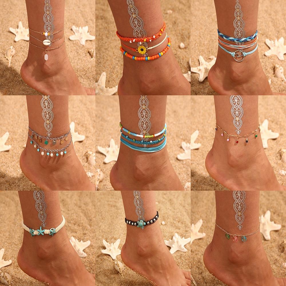 Vintage Shell Ankle Bracelet Set For Women Bohemian Rope Chain Sequin Anklets Summer Beach Girls Barefoot Leg Chain Boho Jewelry