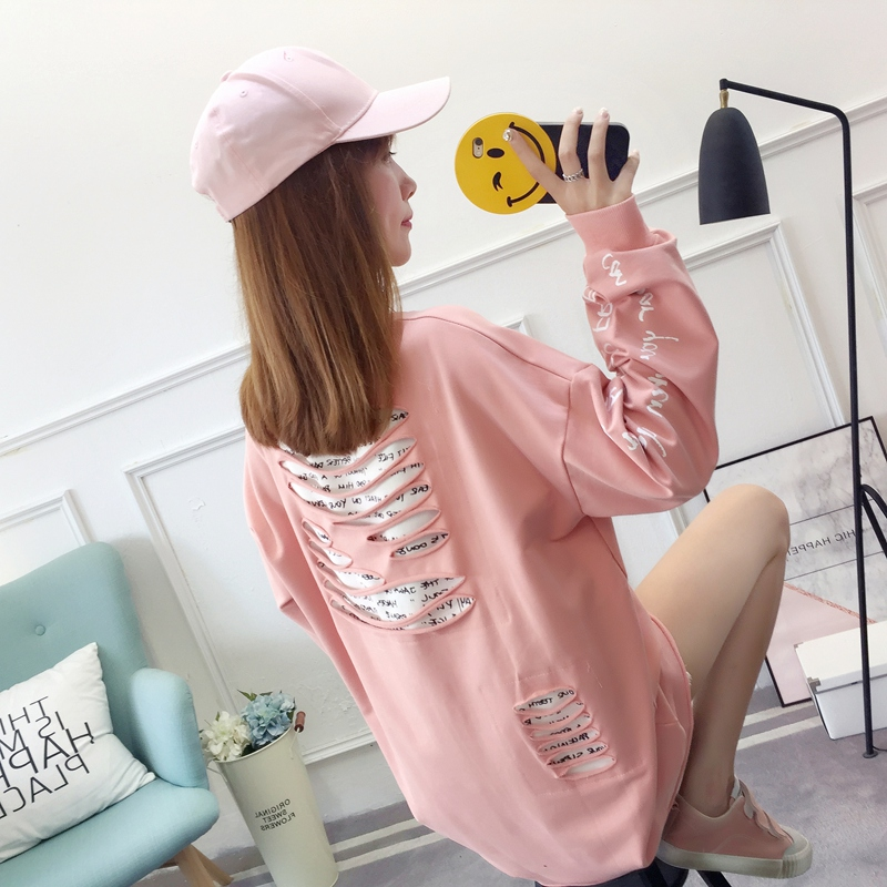 2019 autumn new Korean version of the XL T-shirt women's thin section long-sleeved loose hole wild T-shirt shirt women 72