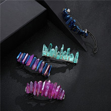 Raw Laser Rainbow Quartz Crystal Hair Clip Copper Wire French Barrette Women Hair Accessories Jewelry Hairpin Special Gifts