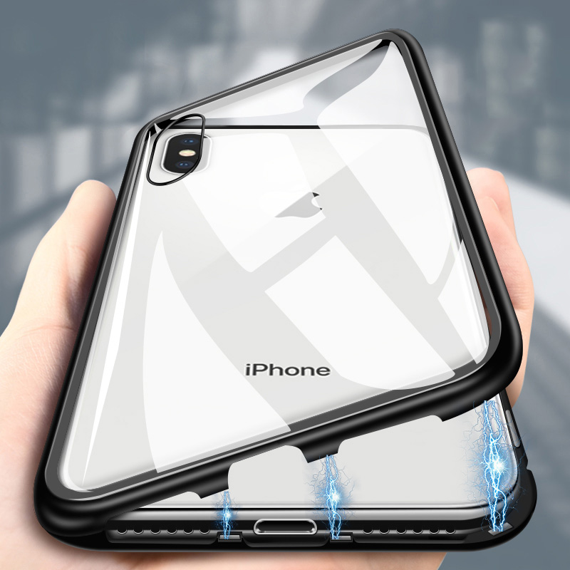 <font><b>Magnetic</b></font> Adsorption Metal Phone <font><b>Case</b></font> For <font><b>iPhone</b></font> 6 6s <font><b>8</b></font> 7 Plus X Xs Max XR Glass Back Magnet Cover For <font><b>iPhone</b></font> X XS MAX XR 7 <font><b>Cases</b></font> image