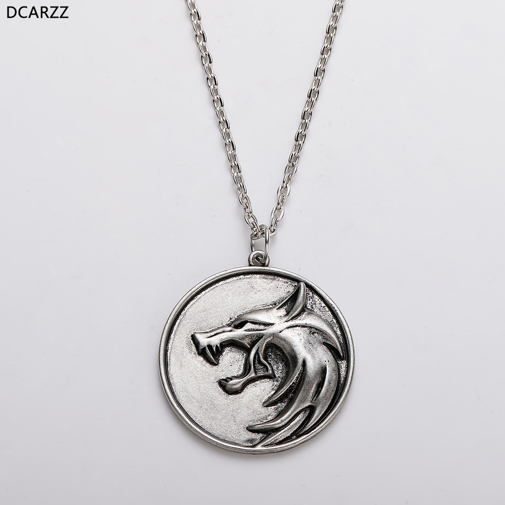 Game Wizard Wild Hunt Necklace Wolf Head Medallion Pendant Geralt Choker Boho Necklace Cosplay Jewelry Drop Shipping 60cm Chain