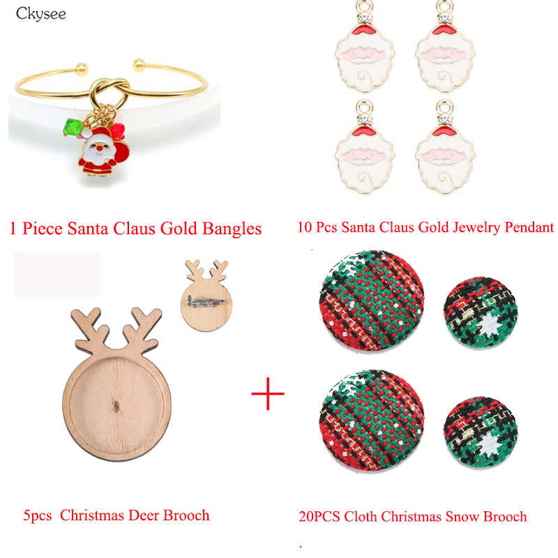 Ckysee Jewelry Christmas Santa Claus Snow Necklace Pendant Brooch Jewelry Making Bracelet Bangles Children  Christmas Set Gift