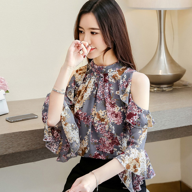 Korean Blouse Women Clothing Shirt Ladies Tops Floral Chiffon Ruffles Stand Butterfly Sleeve Blusas Hollow Female Tops Plus Szie 3