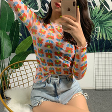 European and American popular 2020 summer new women's floral print sun proof long sleeve T-shirt цена 2017