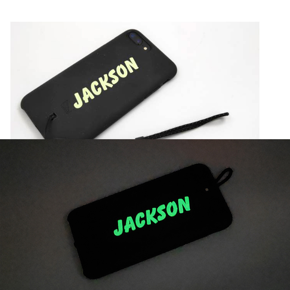 1X Green Luminous Stickers Custom Name Label Personalised Tag Glow In The Dark For Water Bottle Lanch Box Laptop Cellphone Decor