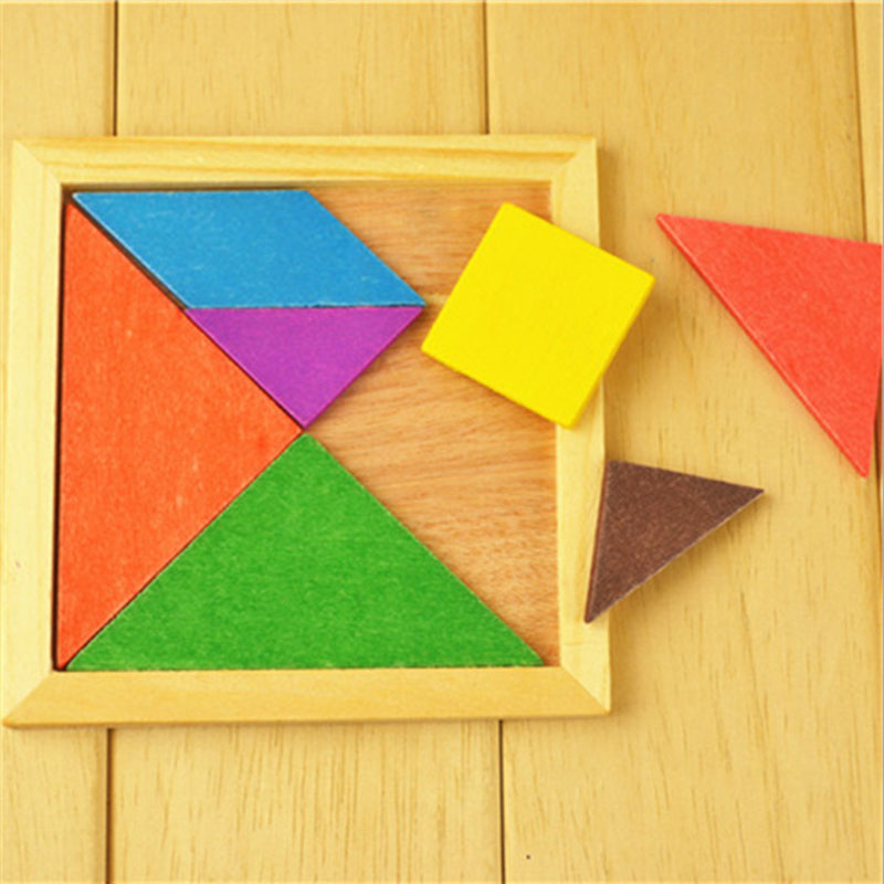 Tangram Wooden Colorful Diy Puzzle Jigsaw Puzzle Toy For Children