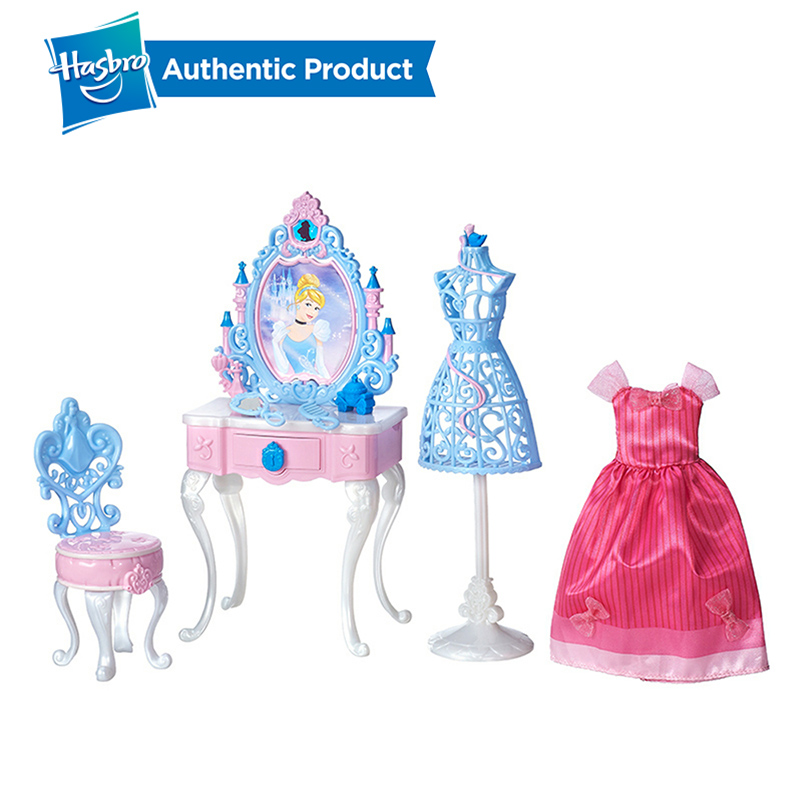 Hasbro  Princess Cinderella's Enchanted Vanity Set Belle's Be Our Guest Dining Set Humanoid Doll Accessories Girls Gift