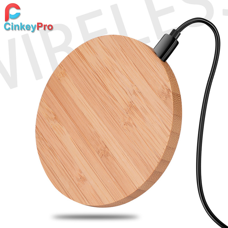 CinkeyPro Wood Wireless Charger Pad with 5W Charging for iPhone 8 X Samsung XiaoMi 5V1A Charge Mobile Phone USB QI Device