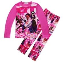 Пижама для девочек из фильма «Коко»; костюм для костюмированной вечеринки; хлопковая одежда для сна для маленьких девочек; Осенняя хлопковая Повседневная милая детская одежда с длинными рукавами; подарки