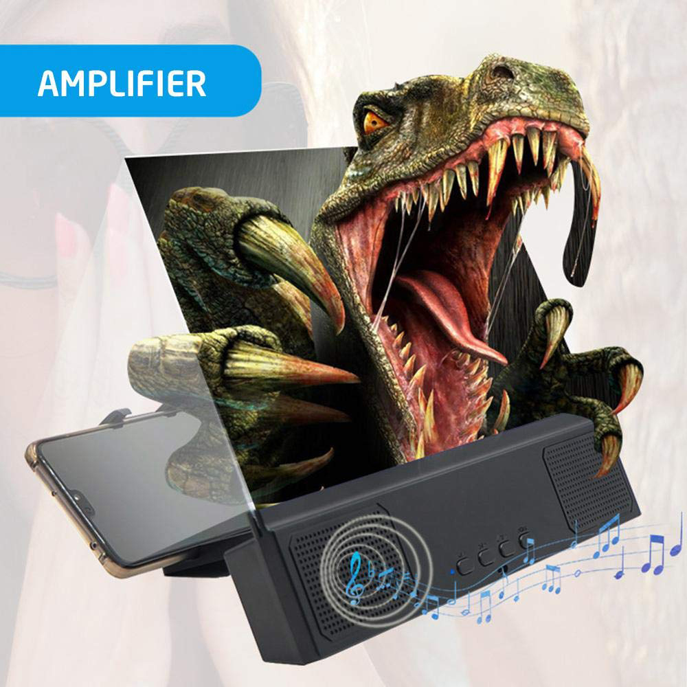 Universal 12 Inch 3D Phone Screen Amplifier For IPhone Foldable Stands Bluetooth Speaker Mobile Phone Screen Amplifier Magnifier