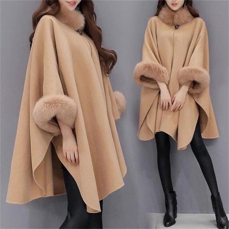 womens real fur collar cape shawl Cloak wool Blend jacket coat trench parkas Sz
