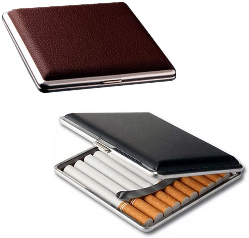 Gift for Men's ,Leather Cigarette Box 20 Sticks cigar Case Metal Leather Smoking Accessories Cigarette lady Storage Cover hold