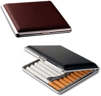 Gift for Men's ,Leather Cigarette Box 20 Sticks cigar Case Metal Leather Smoking Accessories Cigarette lady Storage Cover hold smoking accessories men lady gift cigarette storage container case aluminium alloy tobacco holder pocket box magnetic button