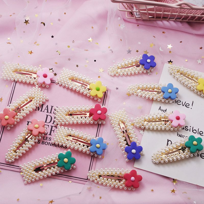 Fresh Style Women Girls Geometric BB Hair Clip Faux Pearl Jewelry Snap Barrettes Sweet Candy Color Resin Flower Hair Accessories