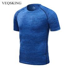 Męskie szybkie suche koszulki do biegania kompresyjne t-shirty sportowe z krótkim rękawem piłka nożna odzież sportowa Fitness Gym koszulki koszulki na siłownię tanie tanio VEQSKING Poliester Pasuje prawda na wymiar weź swój normalny rozmiar Wiosna Lato AUTUMN Winter SE81265-CINDY Black Gray Blue Dark Blue
