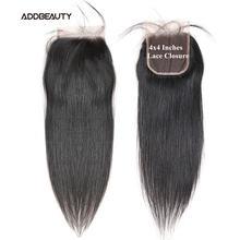 Addbeauty человеческие волосы 4x4 кружевные прямые застежка