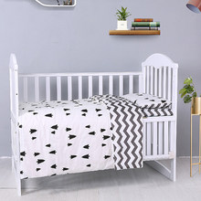 3Pcs Baby Bedding Set Cartoon Cotton Crib Bed Linen Kit Includes Pillowcase Bed Sheet Duvet Cover Without Filler Baby Products(China)
