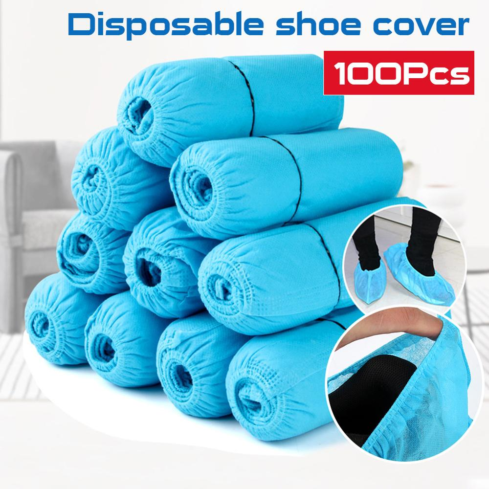 100 Pcs/Pack Medical Dustproof Boot Covers Non-Woven Disposable Shoe Covers Homes Overshoes Blue