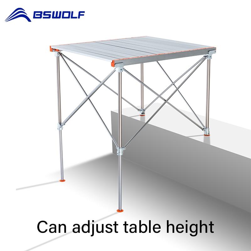 Bswolf acampamento mesa dobrável liga de alumínio mesa piquenique perna ajustável rolo para praia pesca mesa jantar