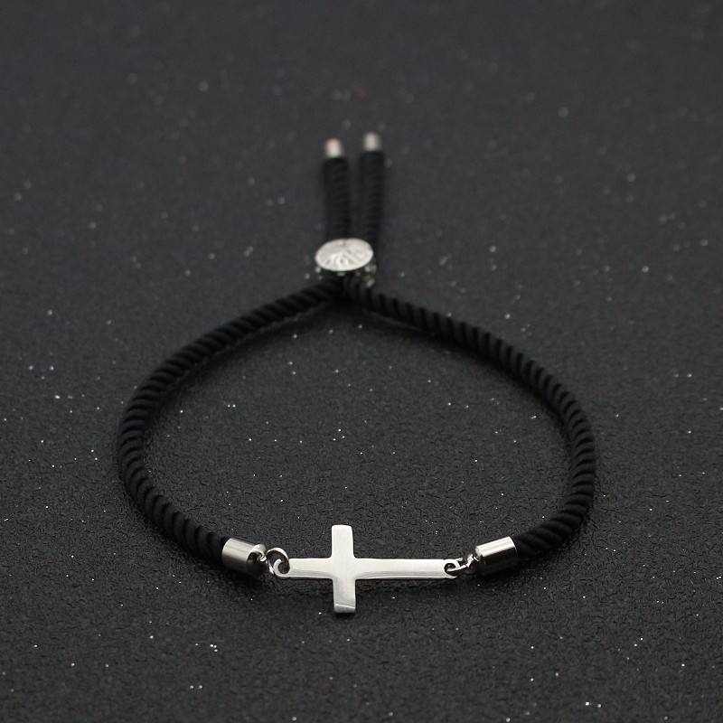 Cute Bear Stainless Steel Cross Couples Bracelet & Bangles Simple Adjustable Rope Bracelets For Women Men Friendship Jewelry