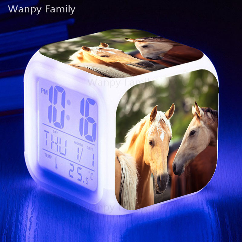 Love couples Horse Alarm Clock 7 Color Glowing LED Big Screen Multifunction Digital Alarm Clock Presented Kids Festival Gift