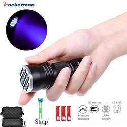 Latarki LED UV latarka ultrafioletowe czarne światło latarka 12 LED 21LED UV światło ultrafioletowe praktyczne światło inspekcyjne