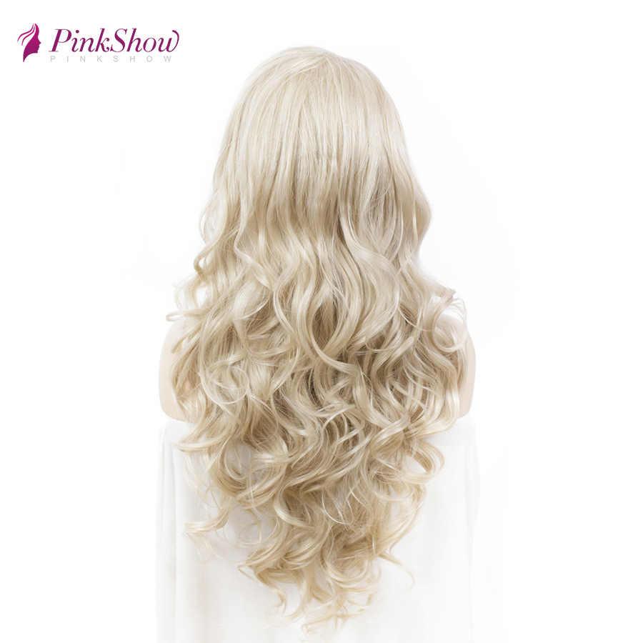 Pinkshow platinum loira perucas dianteiras do laço longo ondulado peruca dianteira do laço sintético glueless resistente ao calor perucas de fibra para mulher diariamente