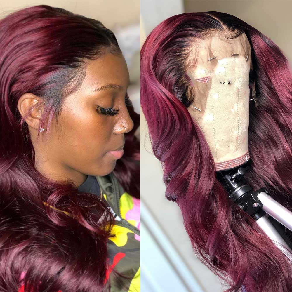 Wavy 13x6 Deep Part Lace Front Human Hair Wig Ombre Highlight Pre Plucked Remy Red Burgundy Colored Swiss Lace Wig Atina