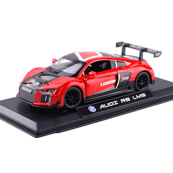цена на 1:24 Toy Car Model Diecast Metal Car Toy Vehicle Audis-R8 LMS Racing Car Sound And Light Car Doors Open For Kids Toys Car Gift