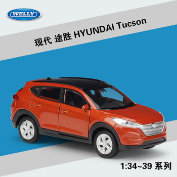 Welly 1:36 Hyundai Tucson alloy car model pull-back vehicle Collect gifts Non-remote control type transport toy image
